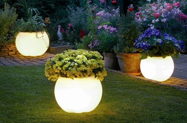 вазоны, уличное освещение, парковые светильники
