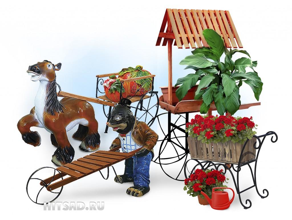 тележки для цветов садовая декоративная тележка
