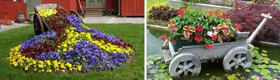декоративные тележки для цветов в сад