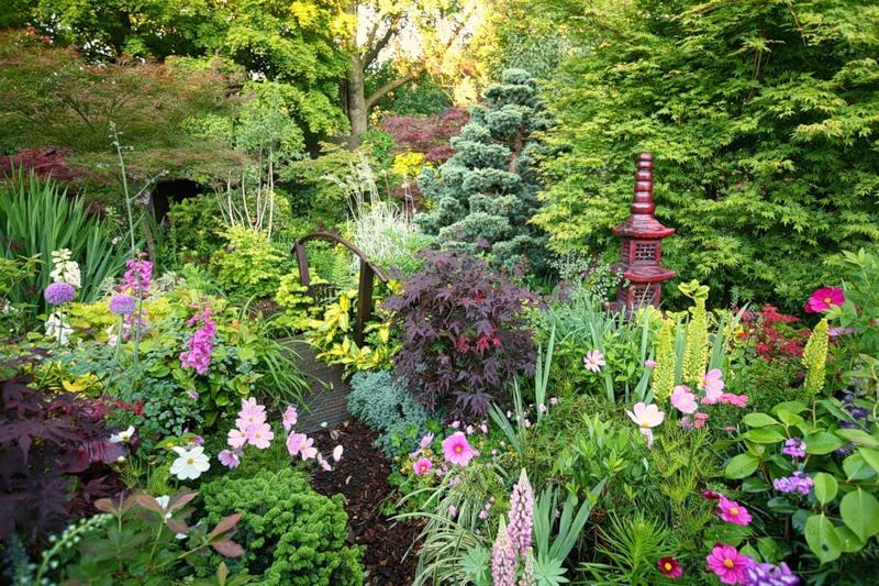 красивый сад цветник мостик декоративный