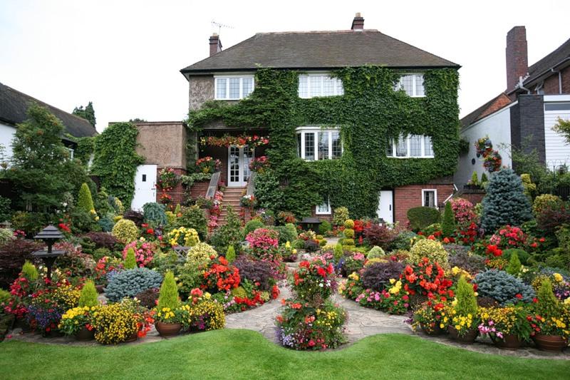 красивый сад цветник садовые дорожки вертикальное озеленение