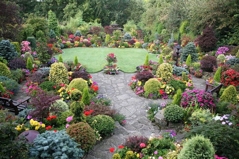 красивый сад цветник газон садовая дорожка