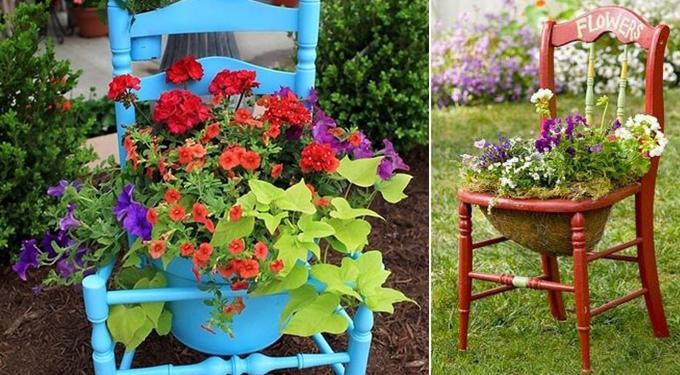 подставки под цветы в сад своими руками старый стул