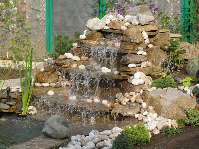 водопад в саду садовый водопад