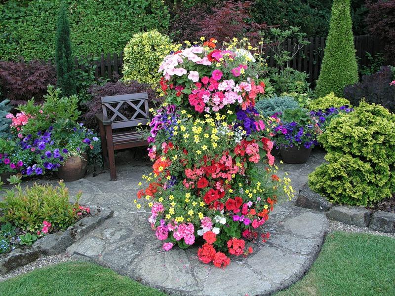 красивый сад цветник газон садовая дорожка садовая скамейка