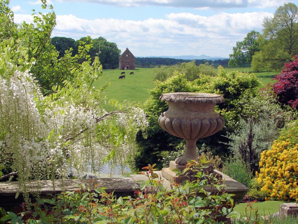 Shropshire Hills красивый сад вазон с цветами