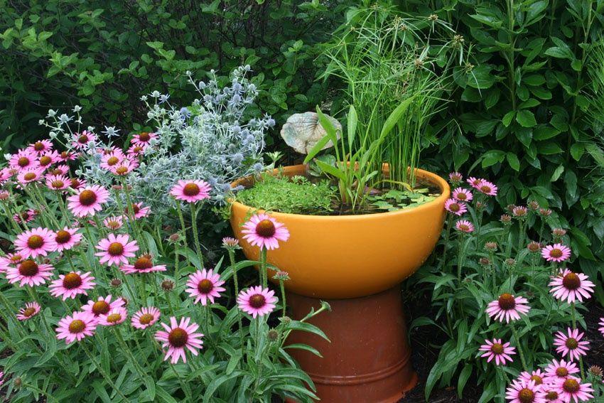 мини водоем небольшой водоем на участке вазон кадка с цветами