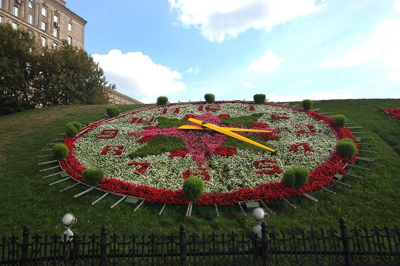 солнечные часы, часы своими руками, часы из цветов, часы цветы