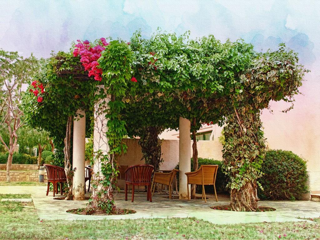 пергола арка зонирование сада