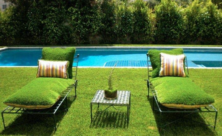 садовая мебель подушки имитирующие газон идеи для сада