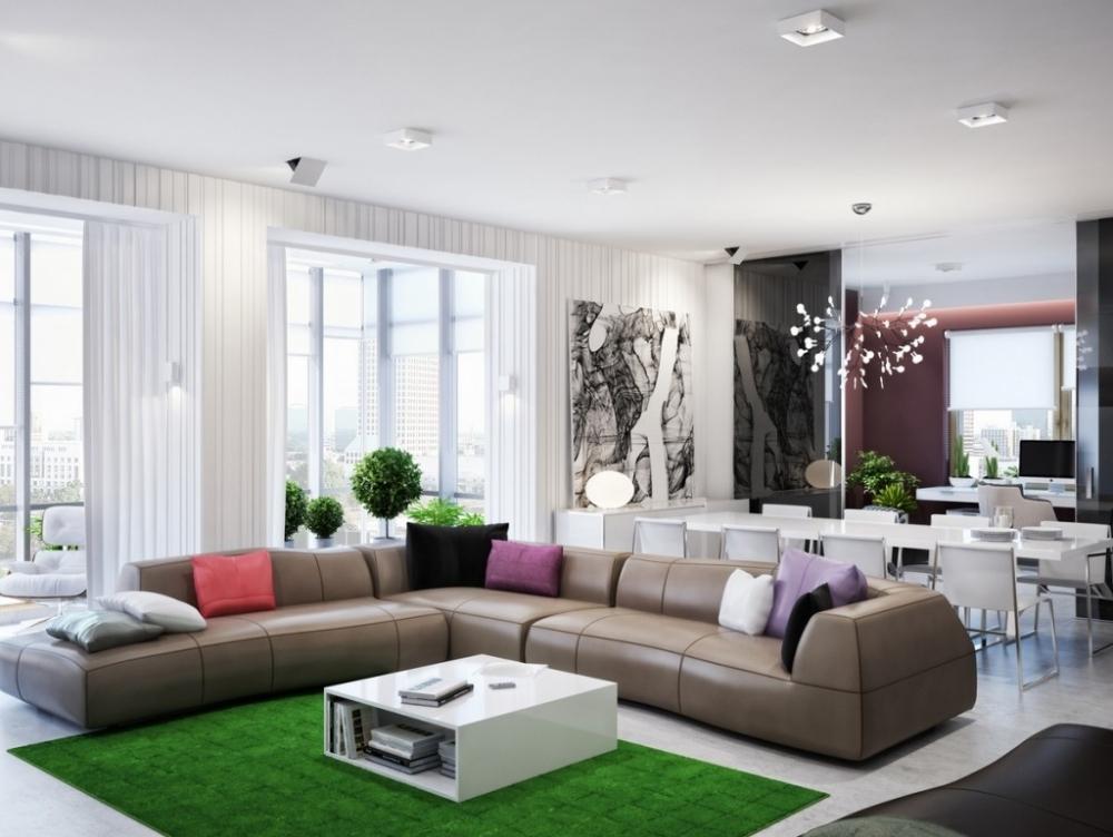 коврик имитирующих газон внутри интерьера