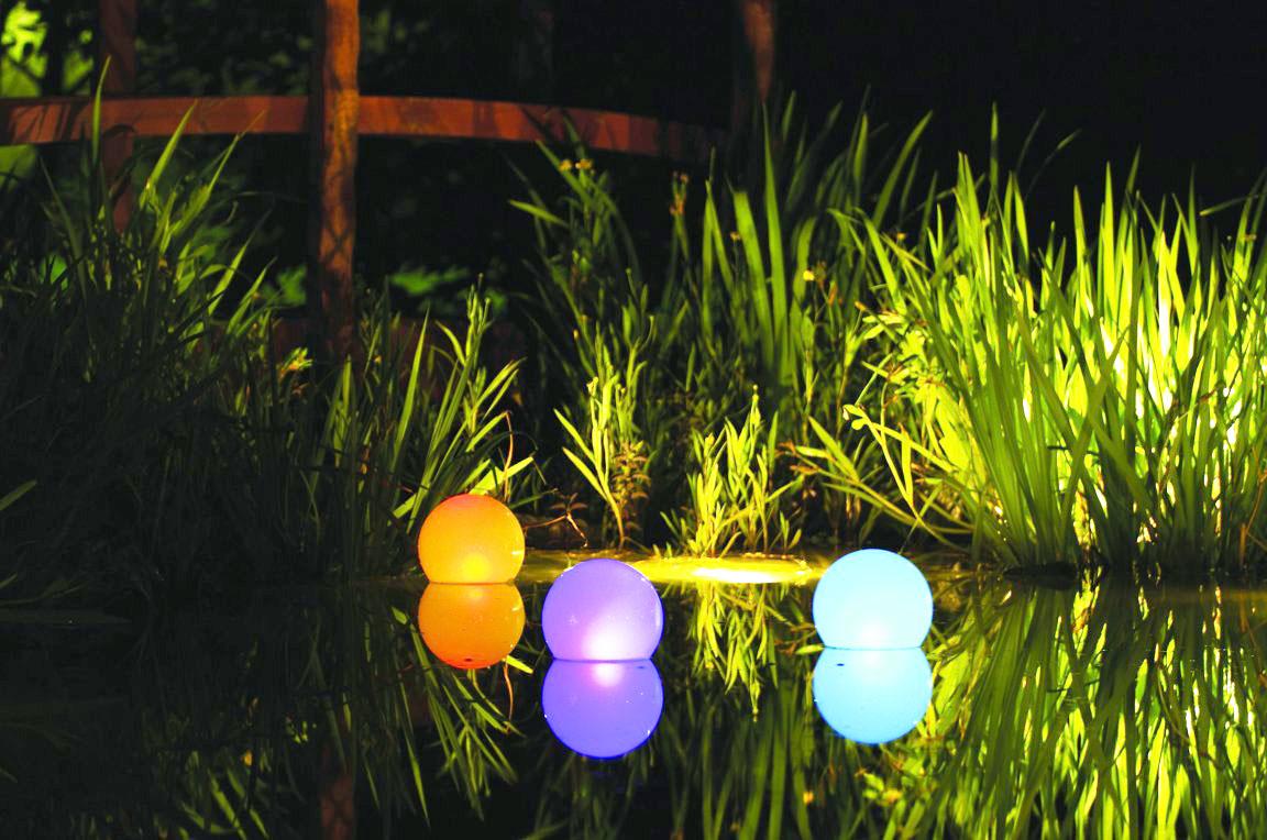 садовое освещение светильники на воде