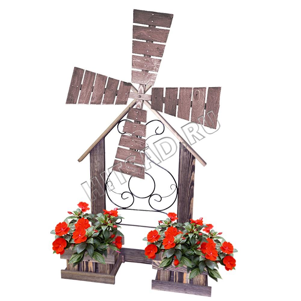 декоративная мельница с корзинами для цветов