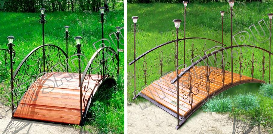 декоративный мостик с фонарями для сада