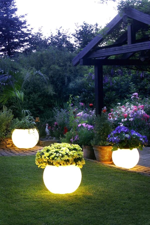 садовое освещение светящиеся цветочные горшки