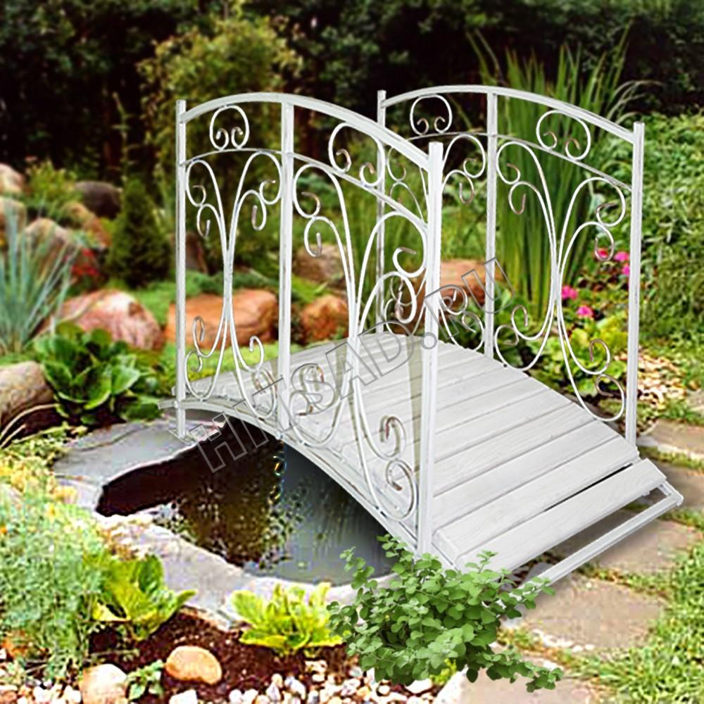 белый декоративный мостик для сада