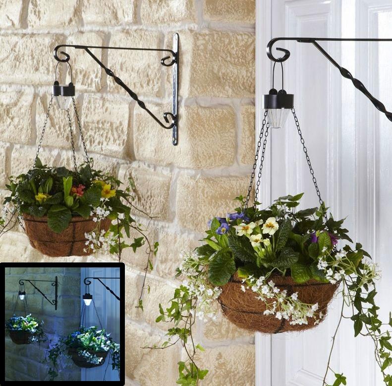 садовое освещение подвесные кашпо с фонарями