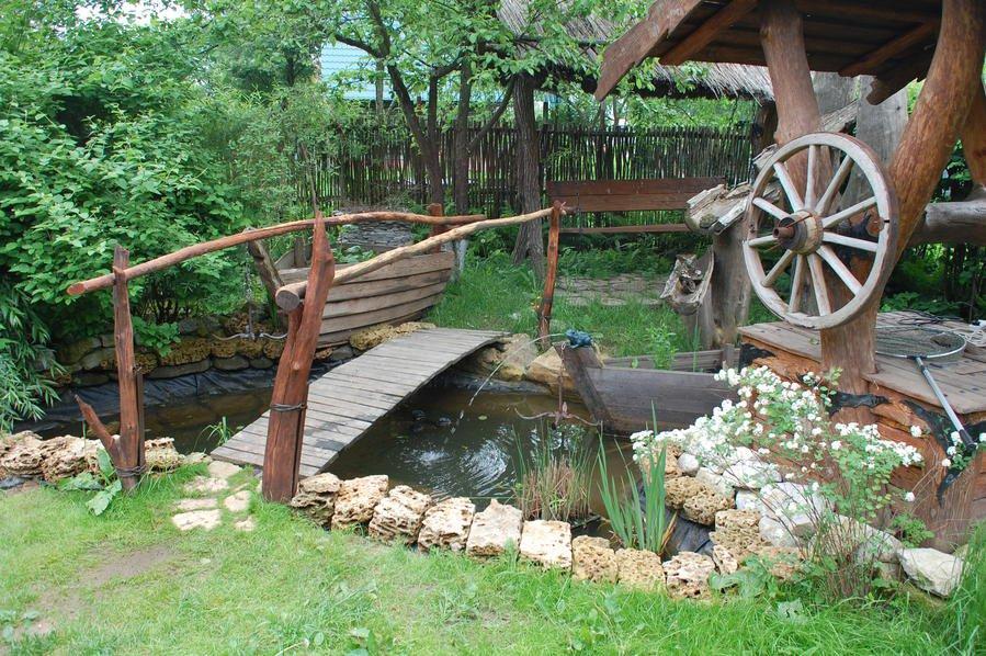 деревенский стиль сада оформление водоема ландшафтный дизайн