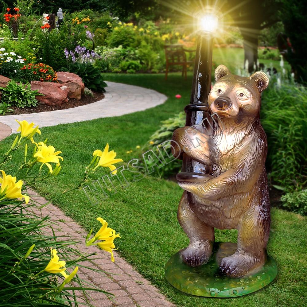 садовый фонарь садовая фигура медведь