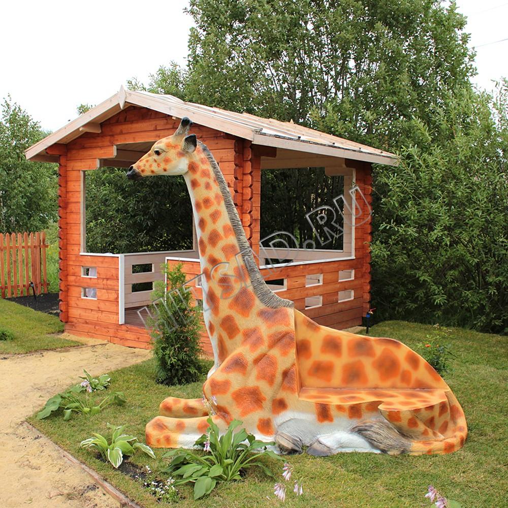 детская скамья из стеклопластика жираф