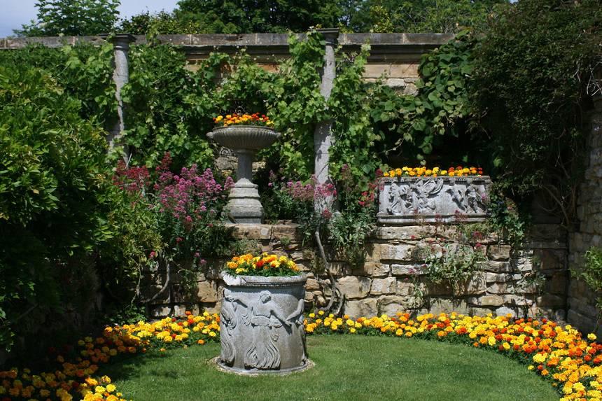 Замок Хивер сад роз красивый сад Англия  вертикальное озеленение вазон