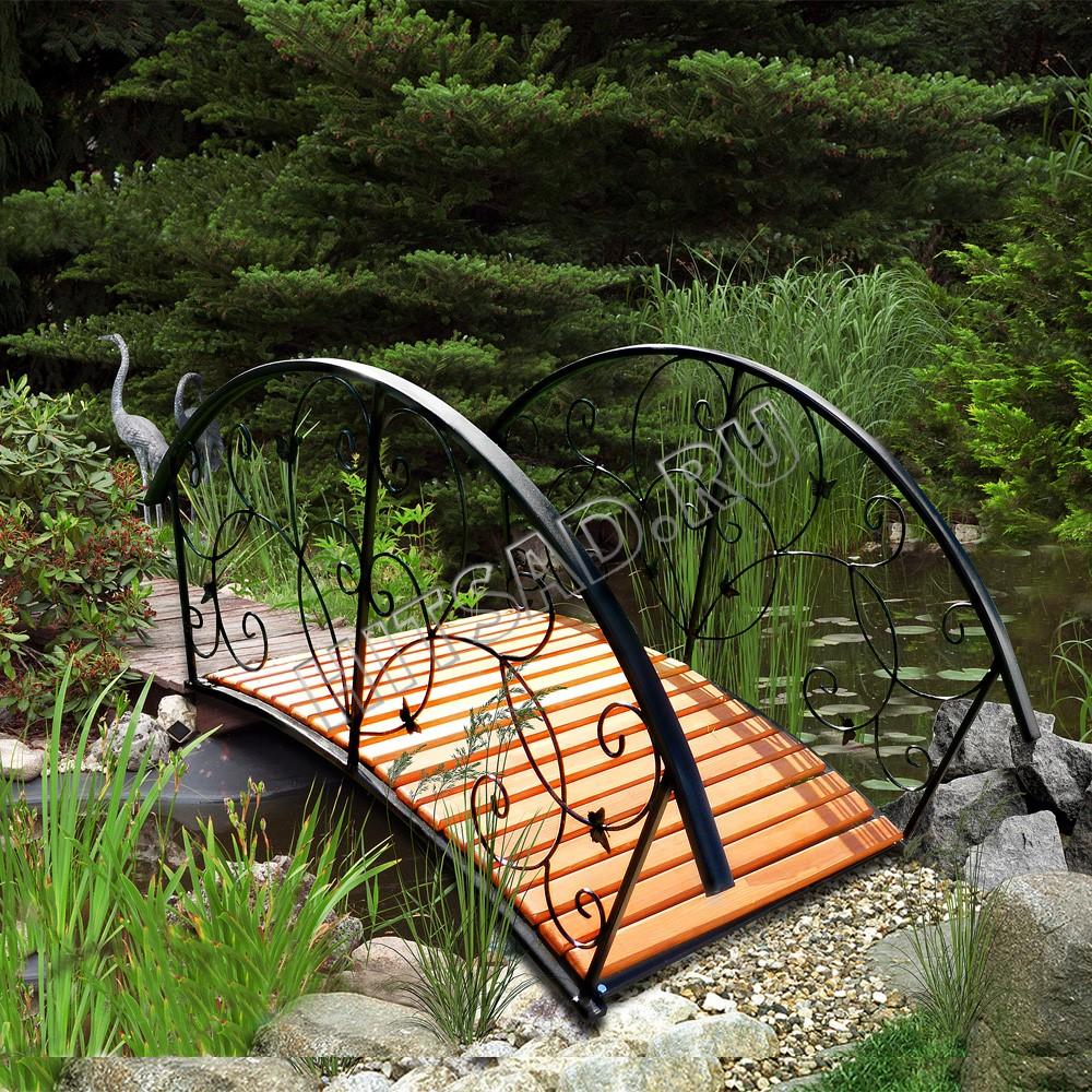 сад на склоне ручей водопад декоративный мостик
