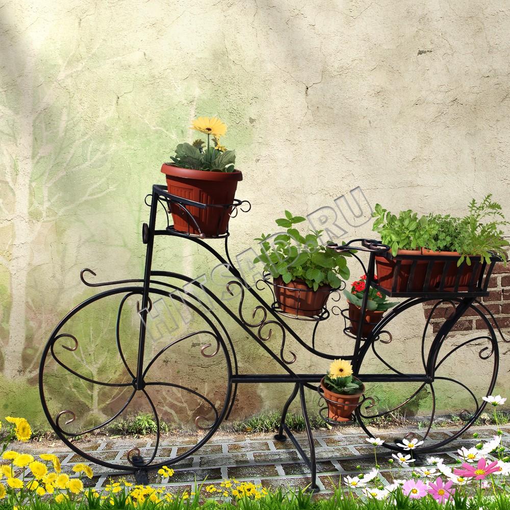 садовая подставка для цветов велосипед