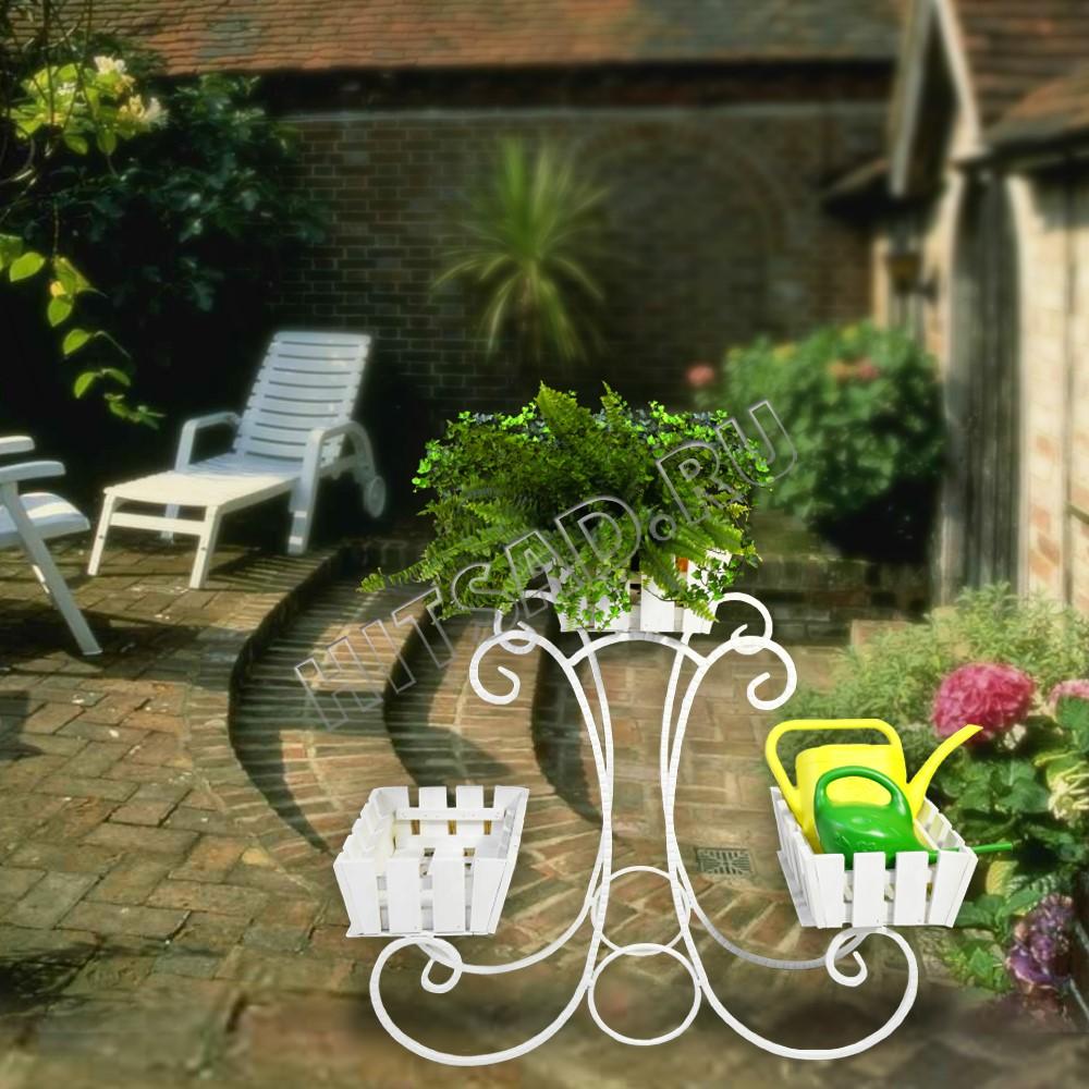 белая подставка под цветы для сада