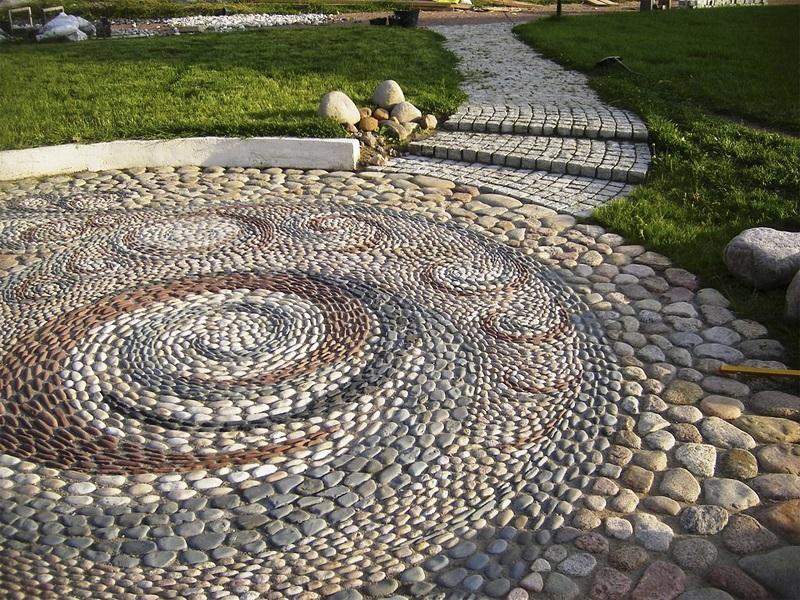 мозаика, мозаика камней, камни в саду