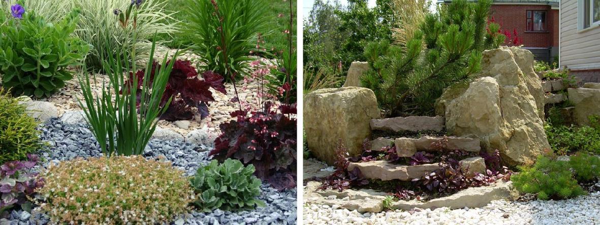 цветники из камня и рокарии