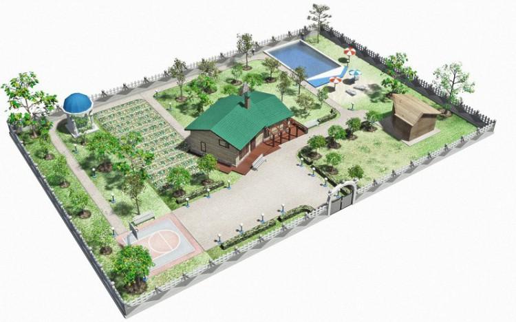 ландшафтный дизайн прямоугольного участка