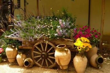 тележка с цветами