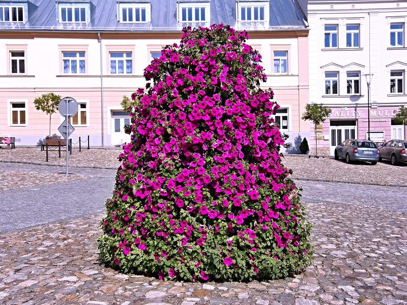 Цветочные башни хорошо смотрятся в городском пространстве